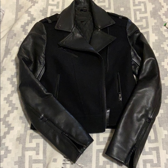 """Mackage Wool and leather crop jacket """"Shanty"""""""
